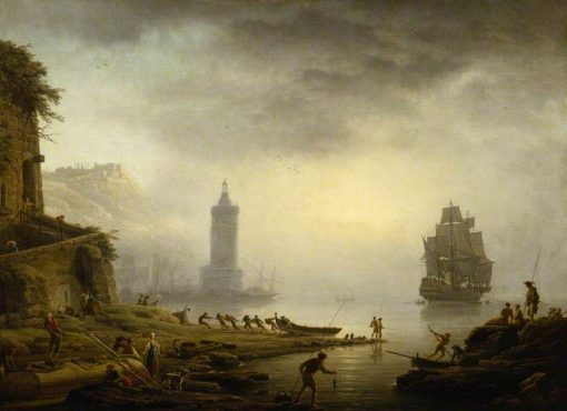 Morning: A Port in the Mist; Fishermen Hauling in their Boat | Claude Joseph Vernet | Oil Painting