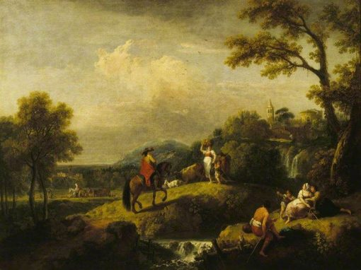 Italian Landscape with Figures by a Waterfall   Francesco Zuccarelli   Oil Painting
