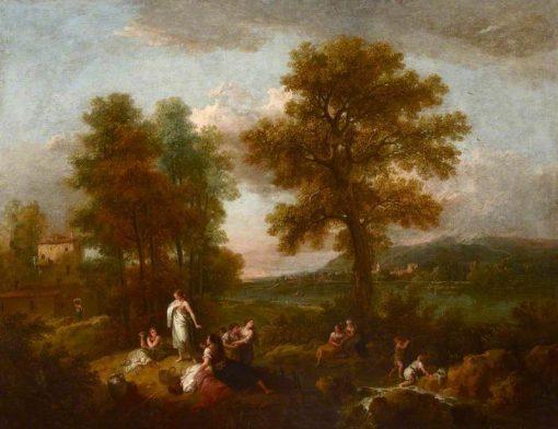 Italian Landscape with Children Fishing   Francesco Zuccarelli   Oil Painting