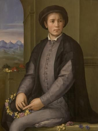 Portrait of a Young Man weaving a wreath of Flowers | Pier Francesco Jacopo di Foschi | Oil Painting