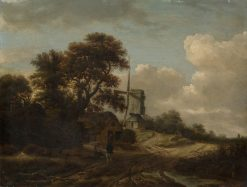 Landscape with Stream and Windmill | Roelof van Vries | Oil Painting