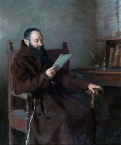 A Monk Reading   Alfred Jacques van Muyden   Oil Painting
