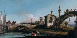 Capriccio with Two Bridges and Figures | Bernardo Bellotto | Oil Painting