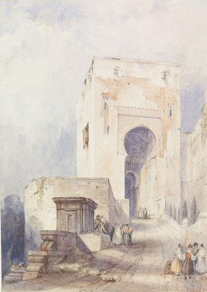 Gate of Justice Alhambra Granada   David Roberts   Oil Painting