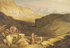 View of Petra from the top of the Theatre   David Roberts   Oil Painting