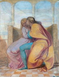 A Youth Embracing a Girl (sketch for a mural in the Villa Carreggi) | George Frederic Watts | Oil Painting