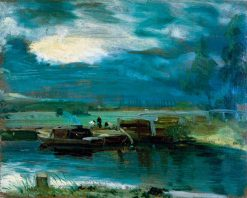 Barges on the Stour with Dedham Church in the Distance | John Constable | Oil Painting