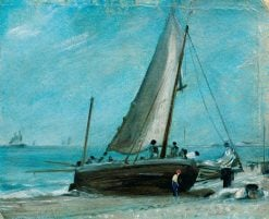 Brighton Beach with Fishing Boat and Crew   John Constable   Oil Painting