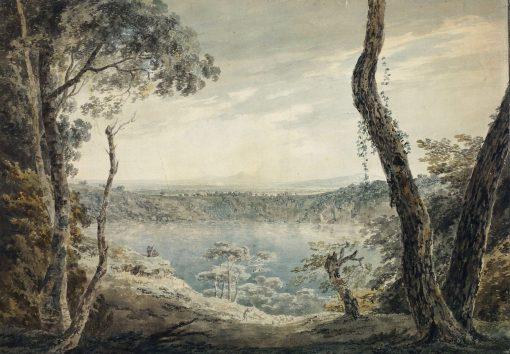 Lake Scene with a Mountainous Distance   John Robert Cozens   Oil Painting