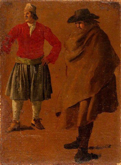 Two Studies of Men | Luca Carlevarijs | Oil Painting