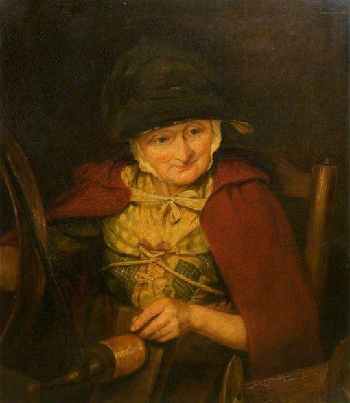 An Old Woman Spinning | Margaret Sarah Carpenter | Oil Painting