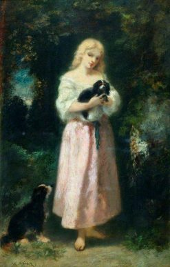 Girl with Dogs | Narcisse Dìaz de la Peña | Oil Painting