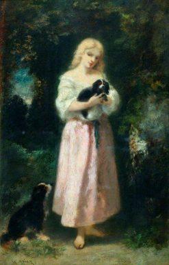 Girl with Dogs | Narcisse Dìaz de la Peña | Oil Painting