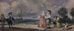 Figures Meeting on a Terrace | Richard Parkes Bonington | Oil Painting