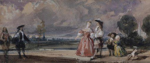 Figures Meeting on a Terrace | Richard Parkes Bonington | Oil Painting