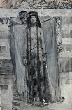 The Merchant Uncovered Her Face (Illustration for 'The Story of Gulnare of the Sea')   Sir Frank William Brangwyn   Oil Painting