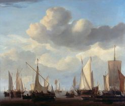 Shipping in a Calm | Willem van de Velde the Younger | Oil Painting