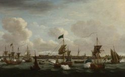 The Landing of 'Princess Charlotte' of Mecklengburg-Strelitz at Harwich | John Cleveley the Elder | Oil Painting