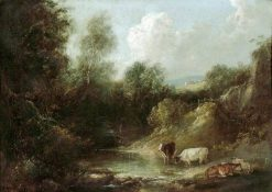 Landscape with Cattle Watering | Julius Caesar Ibbetson | Oil Painting