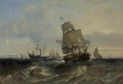 Merchant Ship and Other Vessels in a Breeze | William Adolphus Knell | Oil Painting