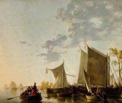 Shipping on the Maas with a Party in a Rowing Boat | Aelbert Cuyp | Oil Painting