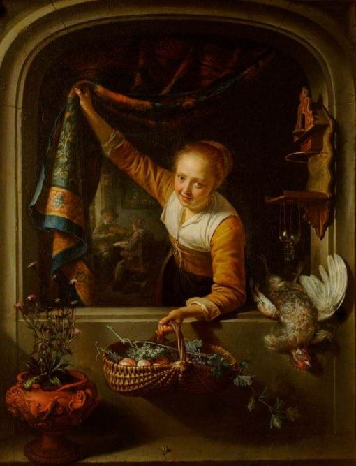 Girl with a Basket of Fruit at a Window | Gerrit Dou | Oil Painting