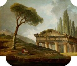 Classical Landscape with a Man and Dog | Hubert Robert | Oil Painting