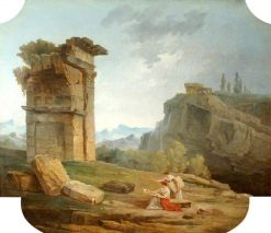 Classical Landscape with Two Women Sketching | Hubert Robert | Oil Painting