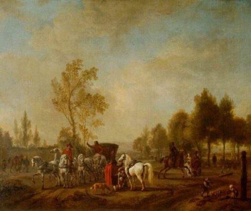 A Riding School in the Open with a Coach | Philips Wouwerman | Oil Painting