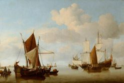 Fishing Boats on a Calm Sea | Willem van de Velde the Younger | Oil Painting