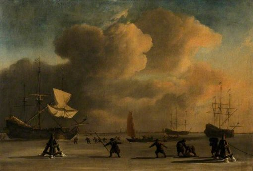 A Frozen Waterway with Three Ice-Bound Ships | Willem van de Velde the Younger | Oil Painting