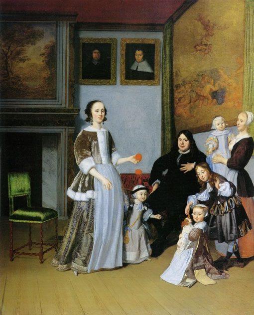 Family Portrait   Jacob Ochtervelt   Oil Painting