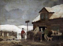 A Village Inn in Winter | Alfred George Stevens | Oil Painting