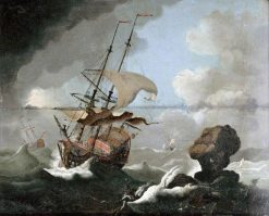 Ships in a Storm | Alfred George Stevens | Oil Painting