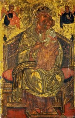 Madonna and Child Enthroned with Two Angels Holding the Instruments of the Passion   Byzantine School Unknown   Oil Painting