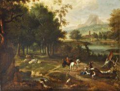 Landscape with Horsemen   Dutch School th Century Unknown   Oil Painting