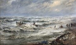 Launching the Lifeboat off Coast of Cumberland | Henry Moore | Oil Painting