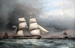 Sailing Ship in the Mersey off Liverpool | James Harris Senior | Oil Painting