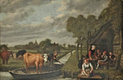 Landsape with a Cow in a Boat | Jan Victors | Oil Painting