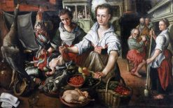 Kitchen Scene with Christ in the House of Martha and Mary | Joachim Beuckelaer | Oil Painting