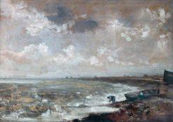 Seashore with Fishermen near a Boat   John Constable   Oil Painting