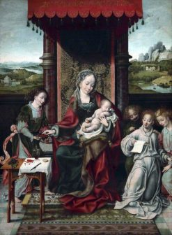 Virgin and Child with Angels   Joos van Cleve   Oil Painting