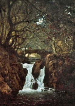 Lower Rydal Waterfall | Julius Caesar Ibbetson | Oil Painting