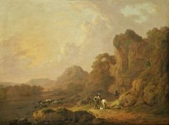 Mountain Landscape with Travellers on a Lakeside Path | Julius Caesar Ibbetson | Oil Painting