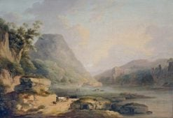 Mountain Landscape with Cattle on a Lakeside Path | Julius Caesar Ibbetson | Oil Painting