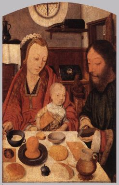 The Holy Family at Supper | Jan Mostaert | Oil Painting