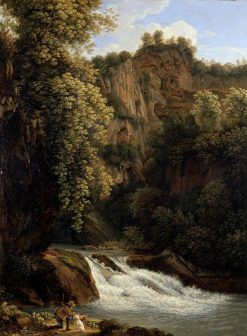 Rocky Landscape with Waterfall | Johann Christian Reinhart | Oil Painting