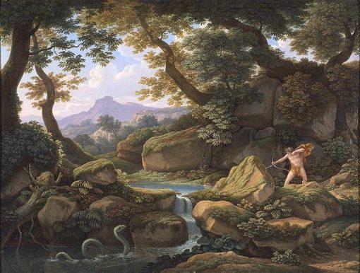Apollo and Python   Johann Christian Reinhart   Oil Painting