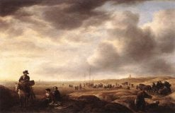 Beach near Scheveningen with Fish-Sellers | Simon de Vlieger | Oil Painting