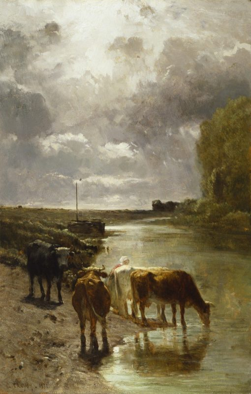 Cattle Drinking | Constant Troyon | Oil Painting